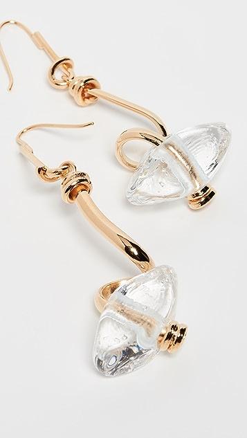 Marni 玻璃和金属线形吊坠耳环