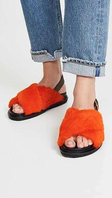 Marni Shearling Fussbett 凉鞋