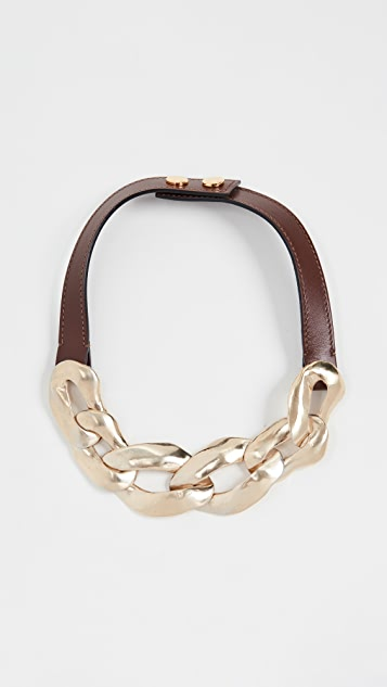 Marni 金属和皮项链