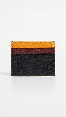 마르니 Marni Colorblock Card Case,Ruby/Black/Pumpkin