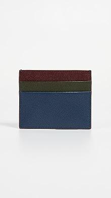 마르니 Marni Colorblock Card Case,Eclipse/Forest/Ruby