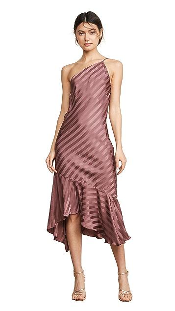 Michelle Mason 荷叶边下摆单肩连衣裙
