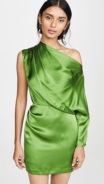 Michelle Mason 单袖垂褶设计迷你连衣裙