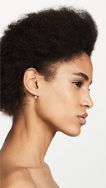 Mateo 14K 金迷你钻石条形单珍珠耳环