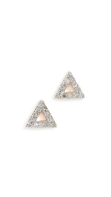 Mateo 14K 迷你钻石三角形耳钉