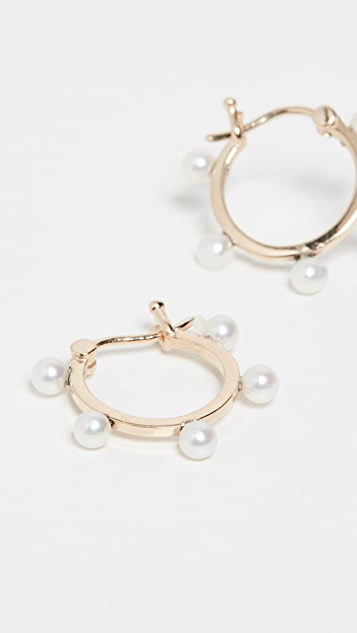 Mateo 14k 淡水养殖珍珠圆点圈式耳环