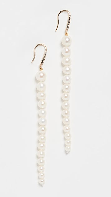 Mateo 14k 淡水养殖渐变色珍珠垂式耳环