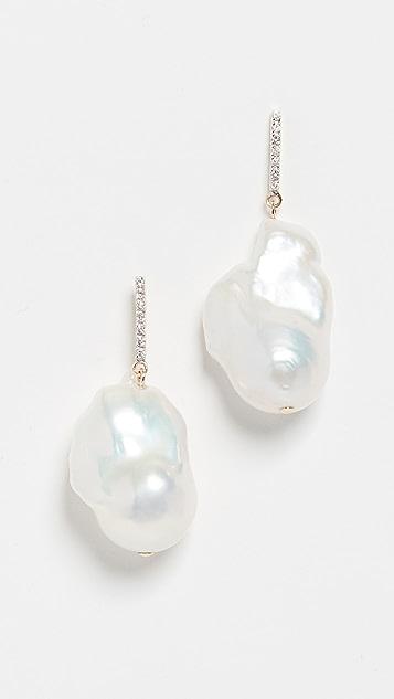 Mateo 14K 金巴洛克珍珠和钻石耳环