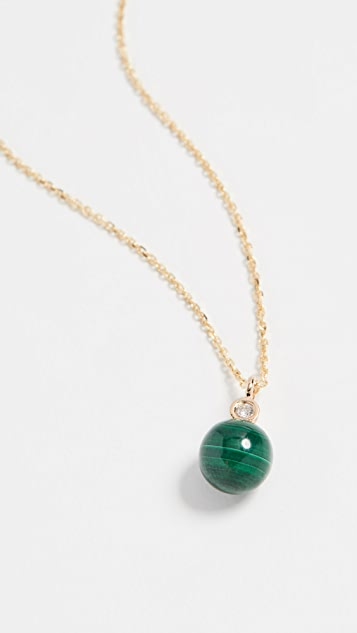Mateo 14k 孔雀石和钻石圆点项链