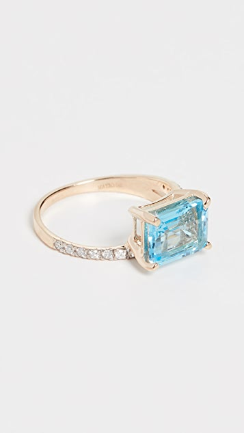 Mateo 14k 蓝色黄晶戒指