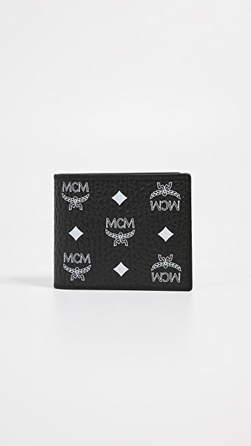 MCM White Logo Visetos 翻盖双折小号钱包