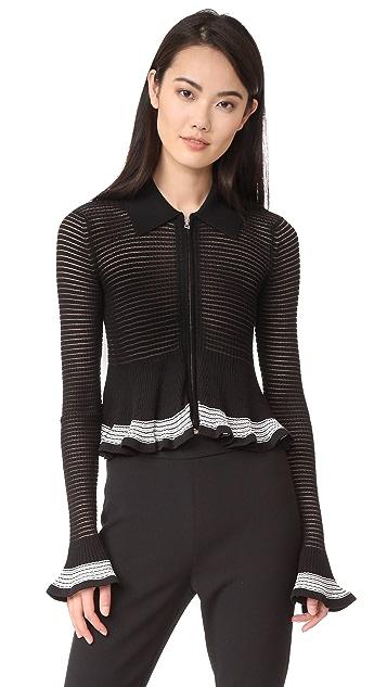 McQ - Alexander McQueen 罗纹设计条纹开襟羊毛衫