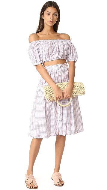 MDS Stripes 中长纽扣半身裙