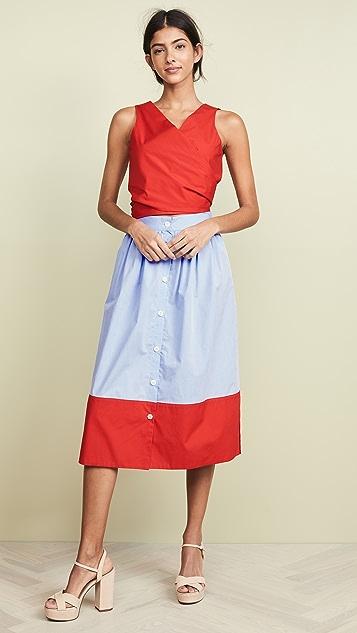 MDS Stripes 侧开衩半身裙