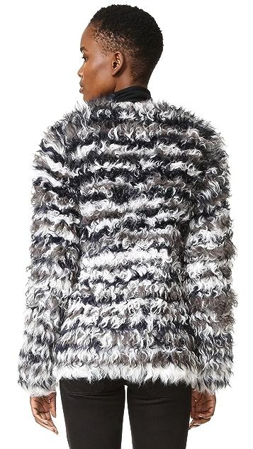 YVES SALOMON - METEO 条纹卷曲小绵羊皮夹克