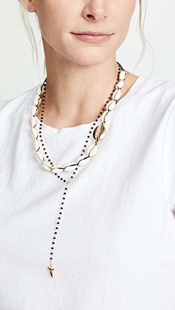 Maison Irem 黑色珠饰鲨鱼齿吊坠项链