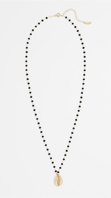Maison Irem 黑色珠饰贝壳金项链