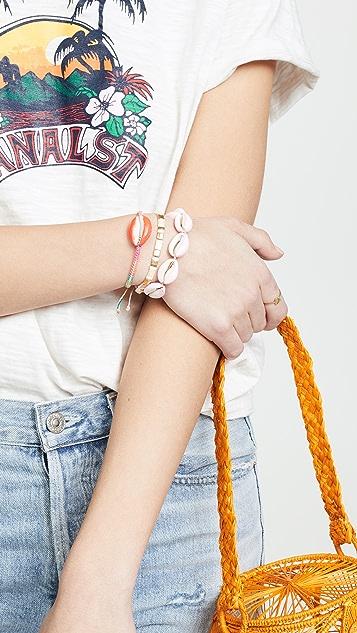 Maison Irem Pino 彩色贝壳镂空织花手链