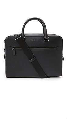 마이클 코어스 Michael Kors Harrison Front Zip Leather Briefcase,Black