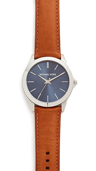 Michael Kors 纤细皮革表带 Runway 手表