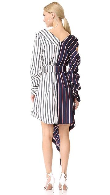 Monse 单肩条纹连衣裙
