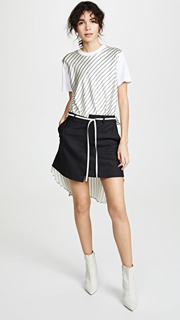 Monse 背面细条纹衬衣式半身裙