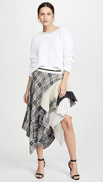 Monse 垂褶格子半身裙