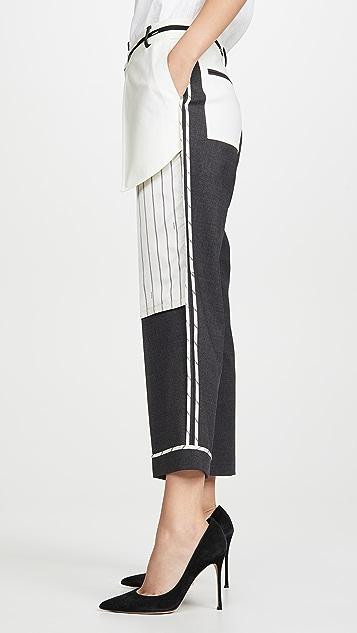 Monse 外翻式细条纹口袋长裤