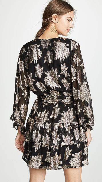 Melissa Odabash 金属色层褶短连衣裙