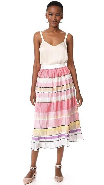 Monique Lhuillier 条纹中长半身裙