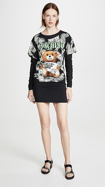 Moschino 泰迪熊金钱 T 恤连衣裙