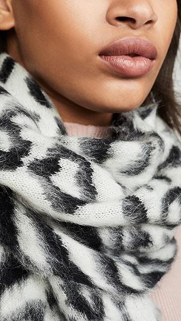 Moschino 豹纹徽标围巾