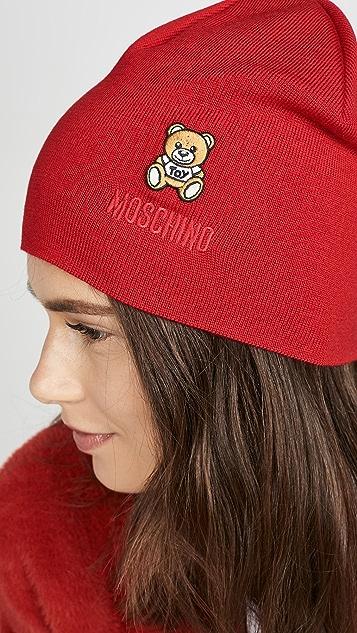 Moschino 红色小熊贴片针织帽