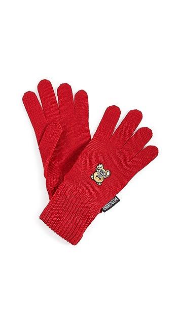 Moschino 红色小熊贴片手套