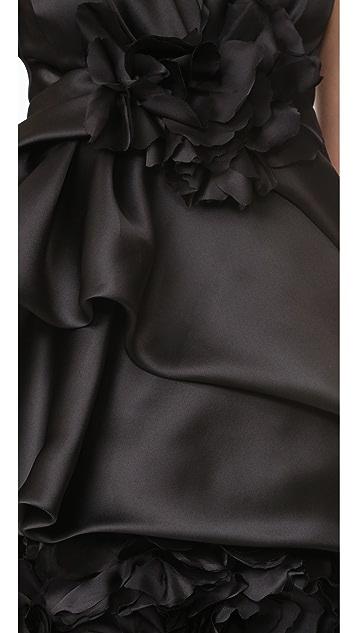 Marchesa 棉缎透明硬纱酒会连衣裙