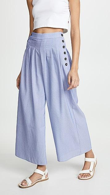 Moon River 天空蓝条纹长裤