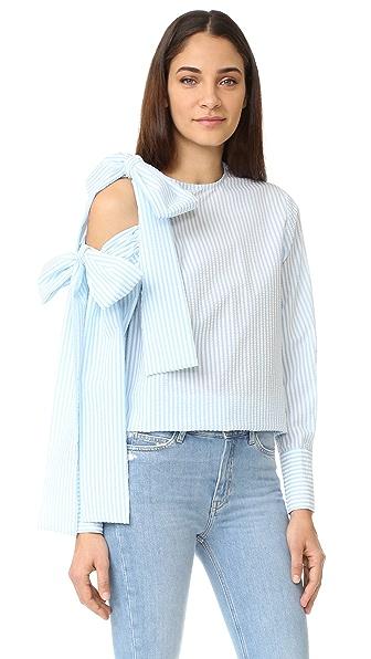 MSGM 泡泡纱露肩绑带女式衬衫