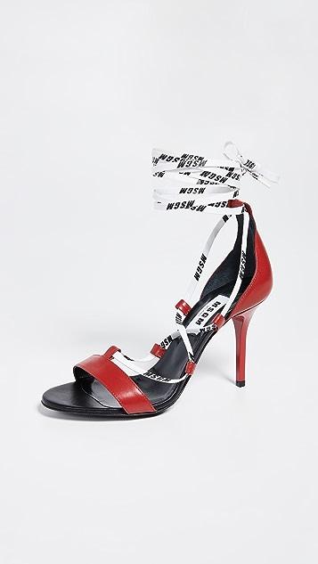 MSGM 绑带式高跟凉鞋