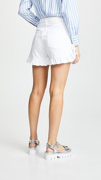 MSGM 荷叶边牛仔布短裤