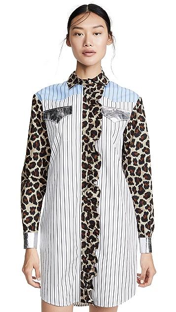 MSGM 混合印花衬衫裙
