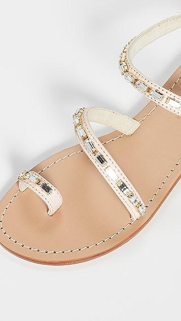 Mystique 镶珠宝趾环凉鞋