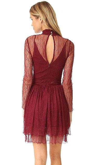 Nicholas 花丝工艺蕾丝长袖迷你连衣裙