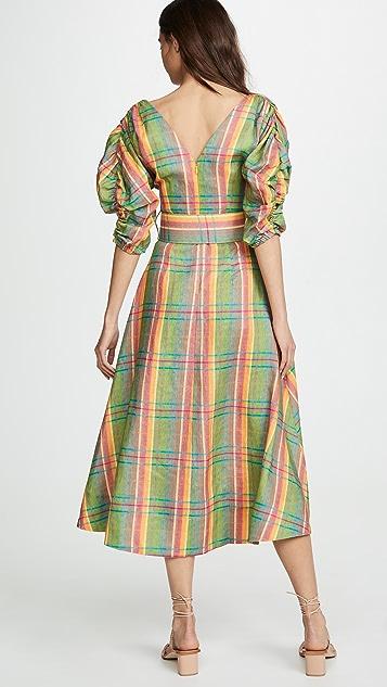 Nicholas 裥褶袖格子连衣裙