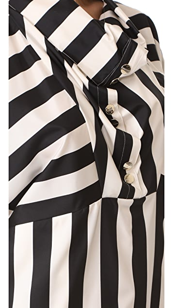 Nina Ricci 条纹垂褶领连衣裙