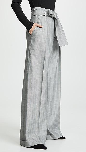 Nina Ricci 绑带腰身细条纹长裤
