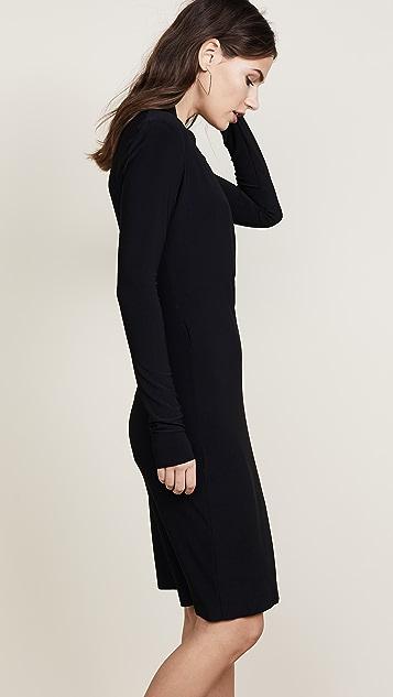 Norma Kamali 长袖侧面垂褶连衣裙