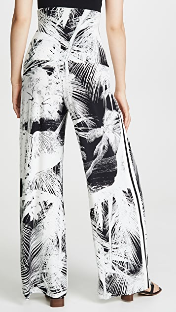 Norma Kamali 侧条纹高腰裥褶长裤