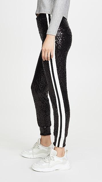 Norma Kamali 重叠亮片侧条纹慢跑长裤