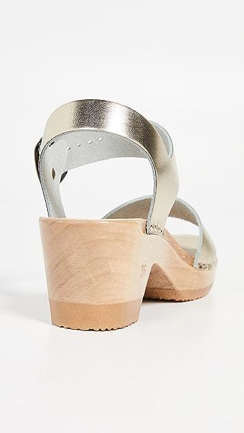 No. 6 双固定带中跟木底鞋