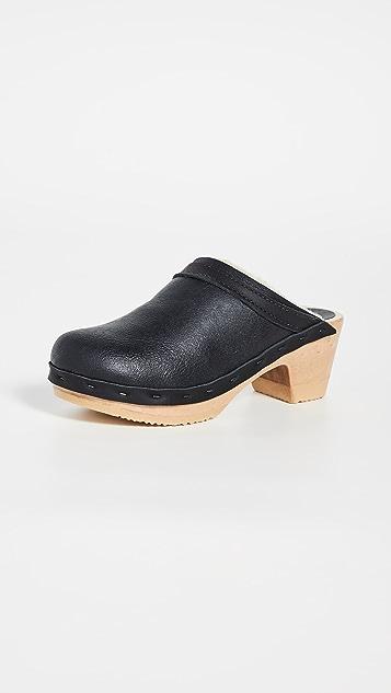 No. 6 Dakota 连毛羊皮中跟木底鞋